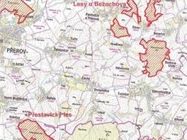 Mapa nových přírodních památek, které Olomoucký kraj vyhlásí na Přerovsku.