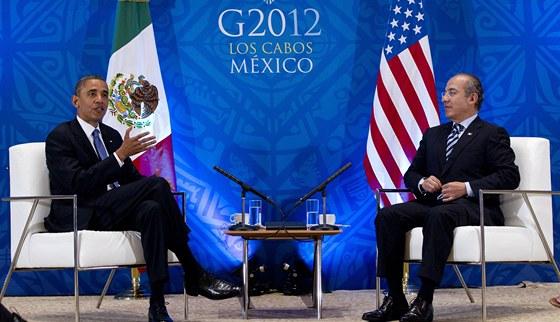 Bilater�ln� jedn�n� na summitu G-20 v Los Cabos: americk� prezident Barack