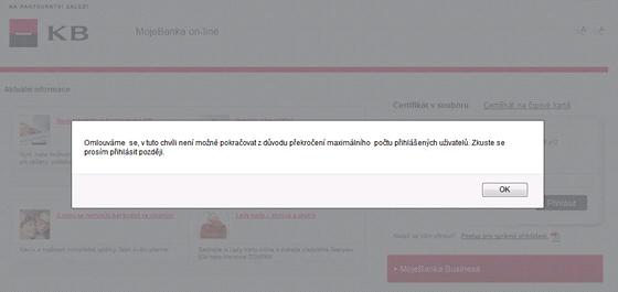 Chybová hláška internetového bankovnictví Komerční banky z 18. června 2012