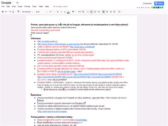 Spolupráce on-line pomocí sdíleného dokumentu v reálném čase (v době psaní