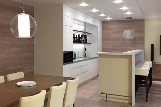 Kuchyňská část vznikla na základě autorského návrhu studia Artiga. Je doplněna