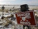 Minové pole, které zůstalo na Falklandech po válce mezi Británií a Argentinou v...