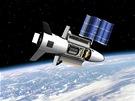 Miniraketoplán X-37B na oběžné dráze v představách grafika. Všimněte si...
