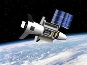 Miniraketoplán X-37B na oběžné dráze v představách grafika. Všimněte si