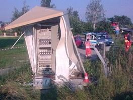 P�ejezd v Ro�nov� v �esk�ch Bud�jovic�ch, kde se st�etl osobn� automobil s
