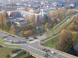 Vizualizace leteckého pohledu na novou olomouckou tramvajovou trať přes Galerii...