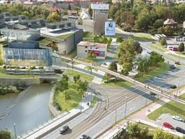 Vizualizace leteckého pohledu na novou olomouckou tramvajovou trať přes Galerii
