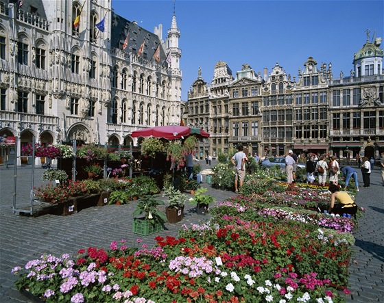 Kv�tinov� trh v na bruselsk�m Grand Place