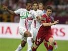 AKTIVNÍ START. Čeští fotbalisté začali proti favoritovi velmi aktivně. Dopředu