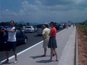 Z�cpa na chorvatsk� d�lnici A1 po tragick� nehod� �esk�ho autobusu (23. �ervna