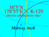 Údajné místo nálezu ponorky K-129 určené podle odtajněných informací o jeho