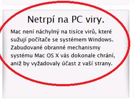 Česká stránka Applu stále obsahuje původní text. Ten mezi výhodama Macu uvádí i