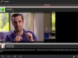 Původní aplikace Google+ na tabletu Samsung Galaxy Tab 10.1