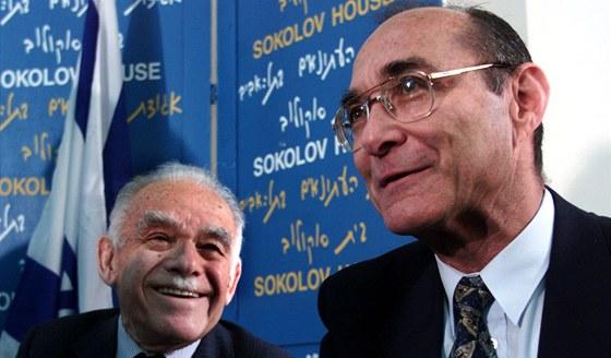 Bývalý izraelský premiér Jicchak Šamir (vlevo). Jicchak Šamir (hebrejsky: zvuk