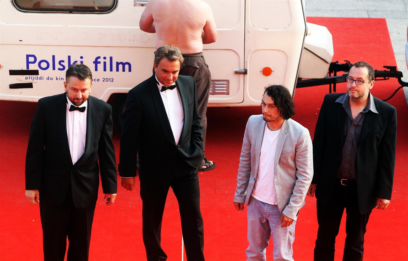 Marek Daniel, Tomáš Matonoha, Pavel Liška před premiérou snímku Polski film