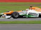 NA DOMC TRATI. Britsk pilot Paul Di Resta bojuje pi trninku s okruhem