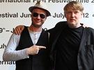 Herec Jan Budař a režisér Marek Najbrt při prezentaci soutěžního snímku Polski