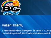 Informace o �padku na webu CK BG Travel.