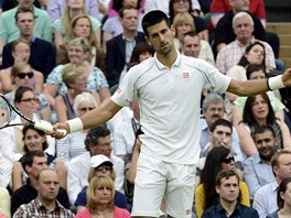 NEJDE TO. Novak Djokovi prohrl v semifinle Wimbledonu s Rogerem Federerem.