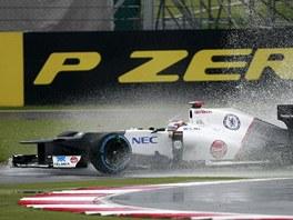 FORMULE 1 V JEZÍRKU. Kamuj Kobajaši z týmu Sauber při tréninku na okruhu v