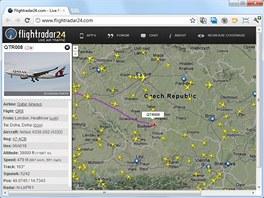 Flightradar24 zobrazuje podrobné informace o aktuální poloze a letová data