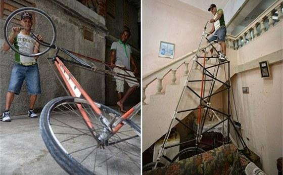 Kubánec Félix Guirola staví rekordní 8 a 12 metrů vysoká kola přímo ve svém
