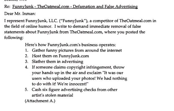 Dopis právníka Charlese Carreona zastupujícího server FunnyJunk