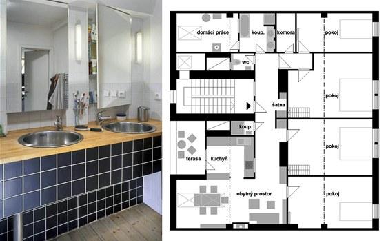 Koupelna je vybavena velmi levn�: jednoduch� obklady, kuchy�sk� d�ezy v desce