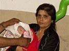 Michalka po příjezdu do Trmic s babičkou a dědou (15. července 2012)