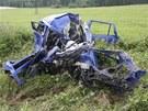 Škoda Fabia po střetu s tatrovkou, řidič vozu nepřežil. (19. července 2012