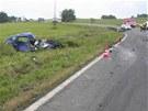 Místo tragické nehody u Milotic nad Opavou. (19. července 2012)