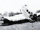 Letadlo Junkers krátce po tragickém pádu, při němž přišel o život Baťa i pilot