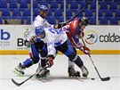 Moment z utkání o bronzovou medaili na mistrovství světa v in-line hokeji mezi