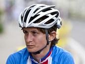 Rychlobrusla�ka Martina Sáblíková b�hem cyklistického závodu Tour de Feminin.