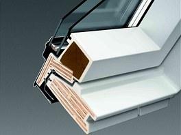 Profil bezúdržbového okna slepeným dřevěným jádrem, které je zalité ve vrstvě
