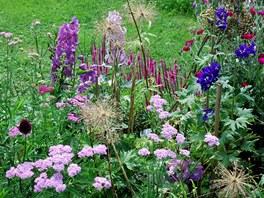 Kombinace modré, fialové a růžové