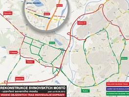 Plánek objízdných tras z centra Ostravy po zahájení oprav severní části