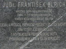 Popis na soše královéhradeckého starosty Ulricha