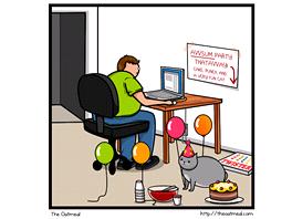 Kočka vs. Internet - jeden z populárních komiksů The Oatmeal