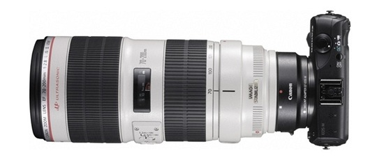 Canon EOS M s dlouhým 70 - 200mm sklem