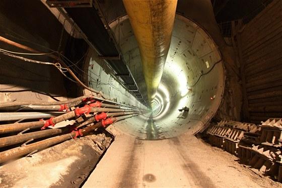 Přechod tunelu od stanice Veleslavín do stanice Červený Vrch
