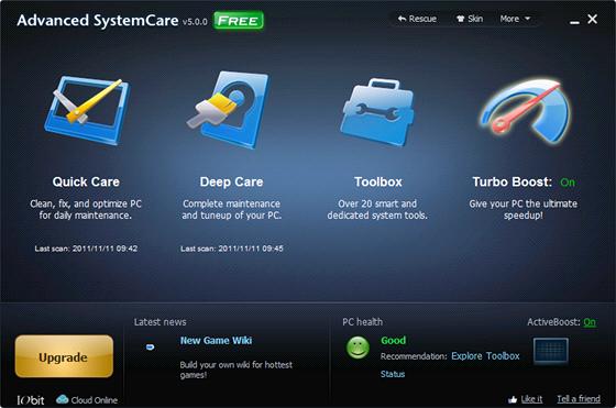 Optimalizační program Advanced SystemCare 5 Free vám pomůže dostat z počítače s