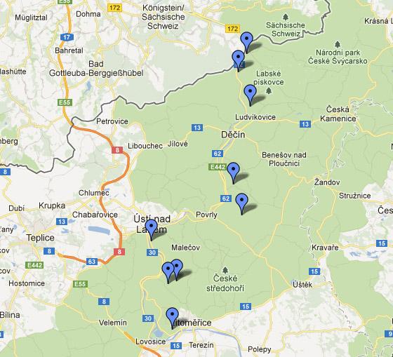 Mapa vyhlídek po pravém břehu Labe