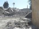 Rozst��len� budovy v provincii Aleppo (20. �ervence 2012)