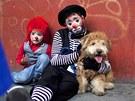Unavení klauni. Dva klauni odpo�ívají na chodníku v Guatemala City b�hem...