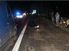 Místo tragické nehody v Česticích na Rychnovsku. (21. července 2012)