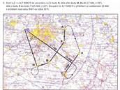 Plán kontroly krytí localizeru ILS. Nejprve se kontroluje širší, 35° sektor,