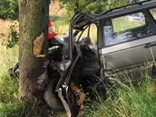 Volkswagen Passat jednadvacetilet�ho �idi�e po st�etu s protijedouc�m autem