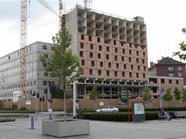 Aktuální pohled na přestavovaný bývalý olomoucký hotel Sigma, budoucí