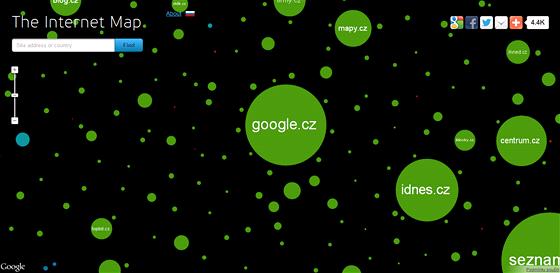 Mapa internetu zahrnuje 350 000 největších stránek světa.